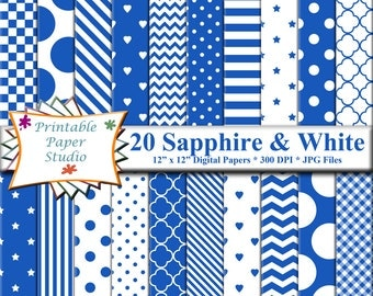 Sapphire Blue Digital Paper Pack, Bright Blue Paper for Cardmaking, Blue Patterned Paper, Blue Colored Paper 12x12 Instant Download File