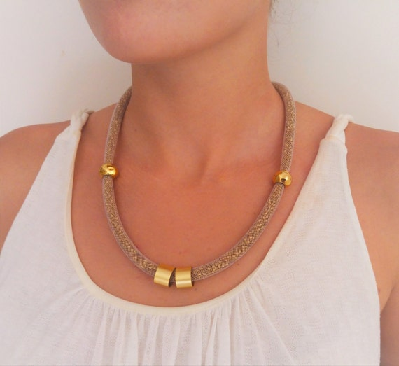 Gold Tube Necklace, Golden Funky Necklace, Statement Jewelry, Chunky Womens Necklace, Golden Bib Necklace, Sparkling Beads Necklace