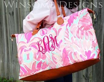 Monogram Weekender-Overnight Bag-Overnight Tote-Monogram Luggage-Monogram Duffle Bag-Monogram Carry On-Lily Pulitzer-Personalized Weekender