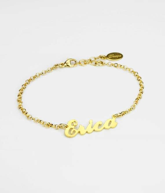 erica name plate bracelet personalized gold bracelet custom