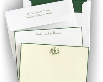 Hunter Green Hand Bordered Card - Thermography Correspondence Card - 5037