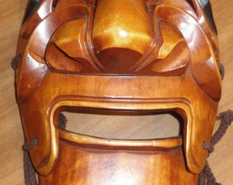 """Vntg Korean Hahoe hand carved Aristocrate(Yangban) Dance mask 9.5""""H x 7""""W Hinged jaw, outstanding oriental art piece. EUC"""