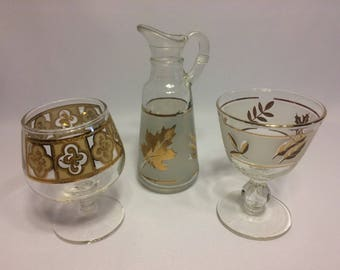 Gold Embossed drinkware glass Set of 3