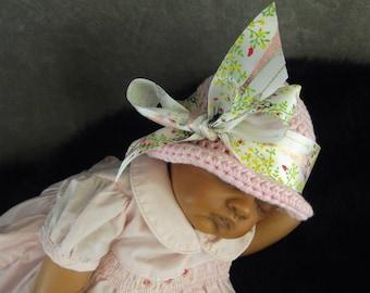 Baby Hats,Accessory,Newborn Girl,Photo Prop,Pink Cloche,Spring ,Cotton,Crochet,Summer,