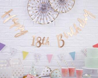 Birthday Bunting | Happy 18th Banner | Gold Birthday Bunting | 18th Birthday Party | 18th Birthday | Birthday Banner | 1.5m Long