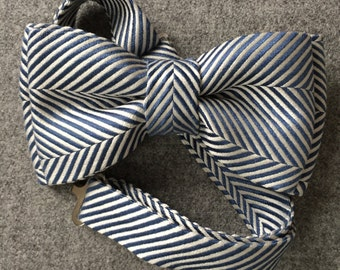 Luxury Blue and White Diagonal Striped Silk Bow Tie for Baby, Boys, and Adults