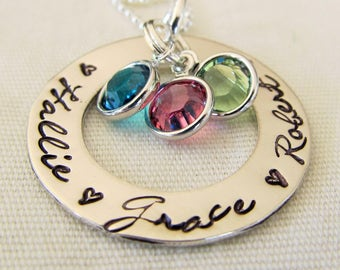Personalized Mothers Necklace Sterling Silver Washer Necklace Custom Name Necklace Gift for Her Mothers Day Gift Hand Stamped Jewelry Hearts