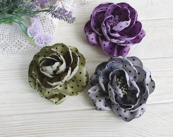 Polka dot Grey Olive White Fabric Flower pin brooch Hair Clip, Textile Fashion Brooch, Floral Pin for Dress, Silk Floral Broach for Woman