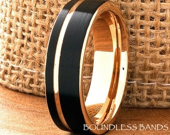 Tungsten Ring Black And Rose Gold Wedding Band Ring 7mm Mens Women's Wedding Band Anniversary Promise Engagement Comfort Fit Offset Grooved