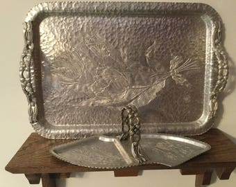 RODNEY KENT Hammered Aluminum Tray and Matching Serving/ Relish Tray   TULIP Pattern and Ornate Flowered Handles
