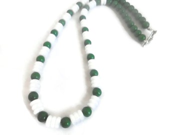 Forest Green and White Necklace