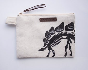 Dinosaur Stegosaurus Zipper Jewelry Pouch, Pencil Case, Purse, Cosmetic bag with handmade print