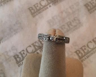 Vintage 10k wg Diamond Engagement Ring Center Round Diamond .10 ct, 24 Round Diamonds in Split Shank .16 tw, JK-SI2-I1 size 5.75