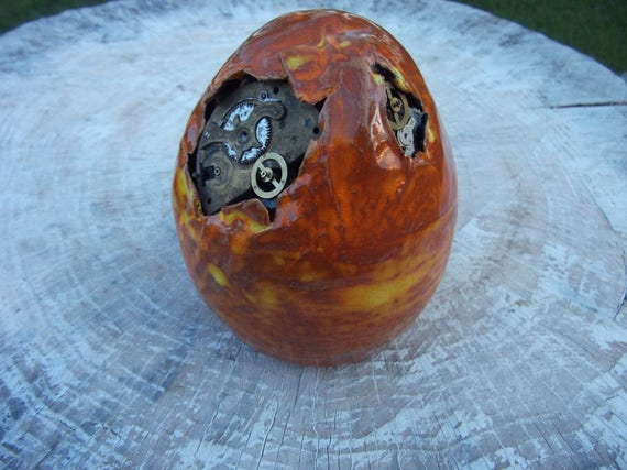 Dragon Egg Steampunk, ceramic egg, XXL dragon egg, OOAK fantasy decoration, ceramic egg, ceramic hatchling, geek gift, steampunk decoration by HandmadeGeekGift steampunk buy now online