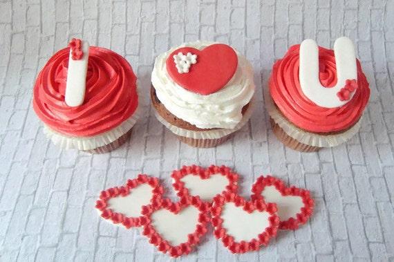 Wedding Cupcake Toppers Fondant Edible By SweetCakeByAnastasia