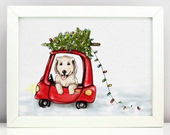 Baby Golden Retriever Clipart PNG Printable Nursery Dog Lover Pet Portrait  Adorable Dog Christmas Tree on Car Digital Download
