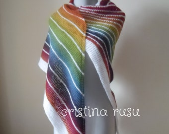 Rainbow knit shawl , knit multi color shawl, shawl Estonian, triangular shawl, women's accessoris, wool shawl  -ready to ship