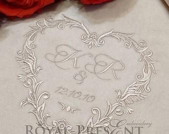 Machine Embroidery Design Wedding Monogram Blank - 4 sizes