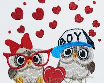 Machine Embroidery Design Two Cute Owls with heart