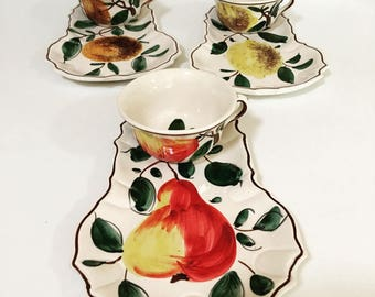 Vintage Italian Ceramic Hand Painted Pottery Luncheon Set Snack Fruit Legumes Set of Three Coffee Tea Cup and Plate - Made in Italy
