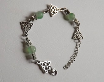 Celtic Triquetra and green Fluorite bracelet