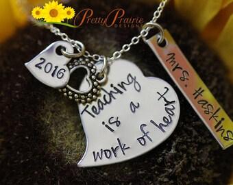 Student Teacher Gift - Special Teachers Gift - Personalized Teacher Necklace - Teacher Appreciation Gift - Custom Teacher Heart Necklace