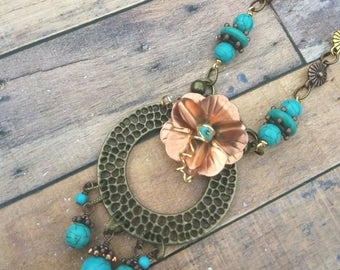 Turquoise, copper and brass necklace, handmade in Tavistock, beadcavemk3 UK seller