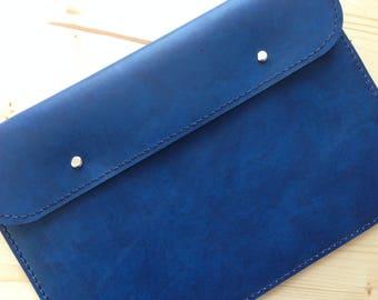 """13"""" MacBook Air Leather Sleeve,Laptop Cover Handmade,Blue 13""""MacBook Air Sleeve"""