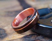Wooden Rings  Bentwood Copper and Ebony Inlay Rings  Mens Wood Rings Womens Wood Rings Wood Engagement Rings Wood Wedding Bands