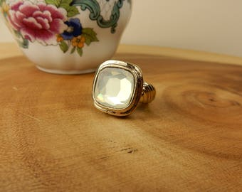 Opaque Ring, Gold Fashion Ring, Bling Jewellery, Size O