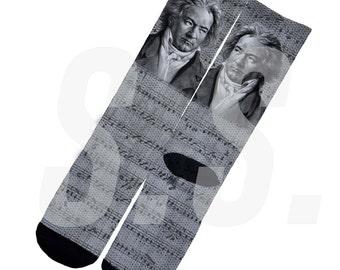 Custom Socks - Beethoven! Piano Music Symphony Sonata  elites elite sock