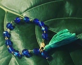 Cobalt blue czech glass bead link braclet