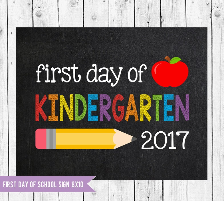 Bright image intended for first day of preschool sign printable