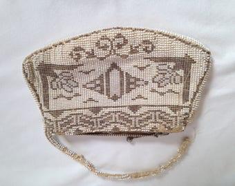 vintage beaded purse, evening clutch, Czechoslovakia, wedding