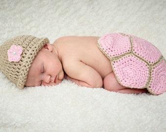 Baby Turtle Costume - Newborn Girl - Newborn Photo Prop - Baby Shower Gift - New Baby Gift - Woodland Nursery - Woodland Baby Shower