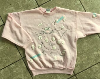 Spumoni Connect the Dots Cat Cats Kittens Pink Sweatshirt Size Large