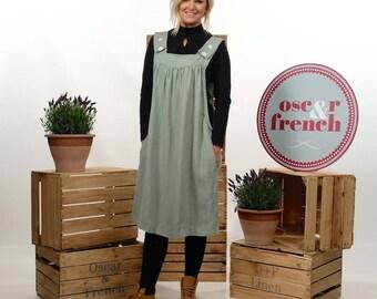 Linen Pinafore Dress, Linen Apron Dress, Maxi Linen Dress, Artisan Apron, Loose Linen Dress, Pinafore Apron, SEA FOAM