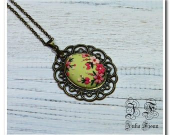 Green floral pendant Spring necklace Floral jewelry Feminine gift Applique floral embroidery Filigree Flower necklace birthday gift for her