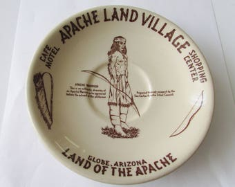 Vintage Apache Land Village Saucer Warrior Globe Arizona  Souvenir  Wallace China
