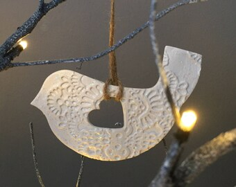White Glitter Hanging Bird Decoration