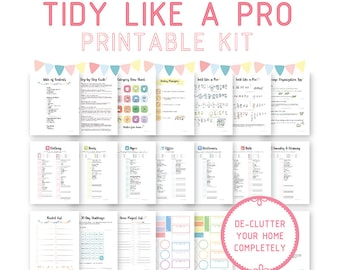 Tidy-Like-A-Pro Printable Kit, Konmari Helper, Declutter Kit, Digital, Organization Guide