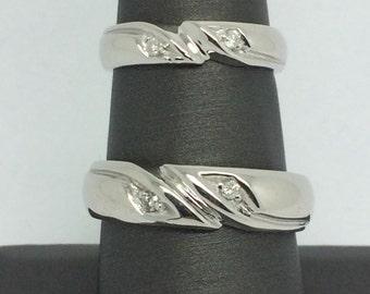 14K White Gold Wedding Set with Natural Diamond