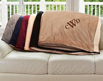 Embroidered Sherpa Blanket 3 Initial Monogram Personalized Blanket So Soft Makes a Great Housewarming Gift