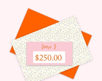 Gift Certificate 250 aud - print out straight away - can be used throughout 2017