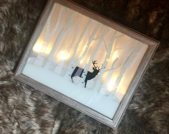 Deer Winter Lit Shadow Box