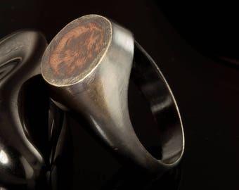Rustic Men's Signet ring, Silver Copper Signet ring, Men's Unique Wedding Band, Unique Engagement Ring, Men's ring, Gift for men,  RS-1223