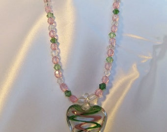 Heart on beaded necklace