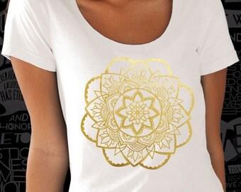 Cool #Gold #Mandala #print on #white, #black or #gray #lose or #tight  fit #cotton #men #women #t-shirt big sizes - #DreamTee
