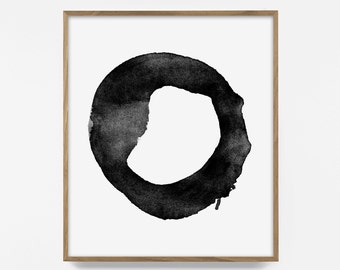 Love print, Contemporary Art, Brush Stroke, Circle Print, Black White Abstract Wall Art, Printable Modern Minimal Ink Painting, Scandinavian
