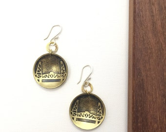 Hawthorne Bridge Earrings, Made in Oregon, Bridges of Portland, Brass Etched Earrings, Small Handmade Earrings